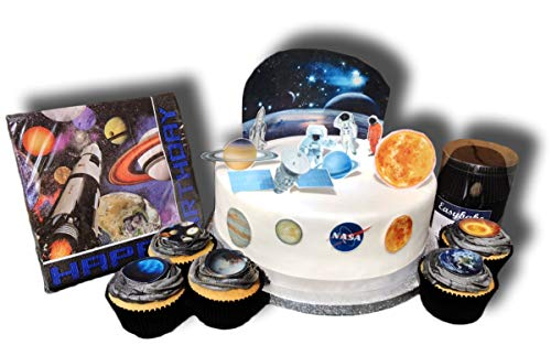 TOP Marques Collectibles Tortendekoration, Motiv: Weltraumplaneten, zum Aufstellen, essbare Oblaten und vorgeschnittene Topper, Space Birthday Servietten, Schwarz (Happy Birthday Essbare Kuchen Bilder)