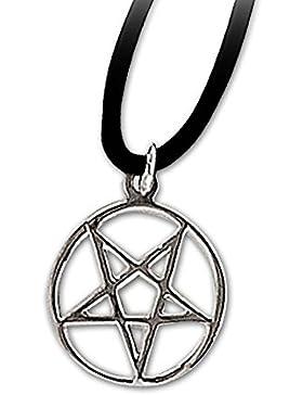 Anhänger kleines umgedrehtes Pentagramm Drudenfuß 925er Silber Schmuck mit Lederhalsband Schmucksäckchen und Karte...