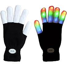 Mágicos 7 modo de guantes coloridos LED Rave dedo de la luz de iluminación que destellan Guantes Guantes Unisex - un par ( NEGRO / BLANCO DEDOS )