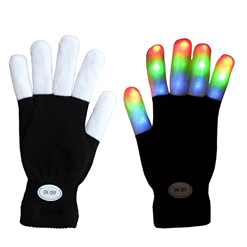 Magical 7-mode Colorful LED Gloves Rave Light Finger Lighting Flashing Gloves Unisex Gloves - One Pair (BLACK / WHITE FINGERS) by NEO+