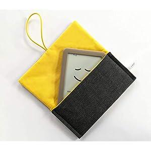 Schutzhülle für ereader oder kleines Tablet/Hülle für Lasegerät/Tasche, Cover, Sleeve, Bag für Kindle, Tolino, Feuer 7, Kobo. Kleines Geschenk. Grau – Gelb