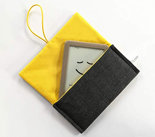 Schutzhülle für ereader oder kleines Tablet/Hülle für Lasegerät/Tasche, Cover, Sleeve, Bag für Kindle, Tolino, Feuer 7, Kobo. Kleines Geschenk. Grau - Gelb Kleine Tabs