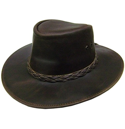 Modestone Unisex Leather Cowboy-Hut Aussie Shape Brown (Style Outback-hut Aussie)