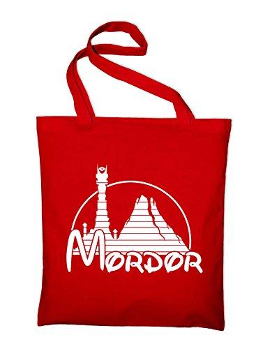 Mordor Fun Herr der Ringe Jutebeutel, Beutel, Stoffbeutel, Baumwolltasche Rot