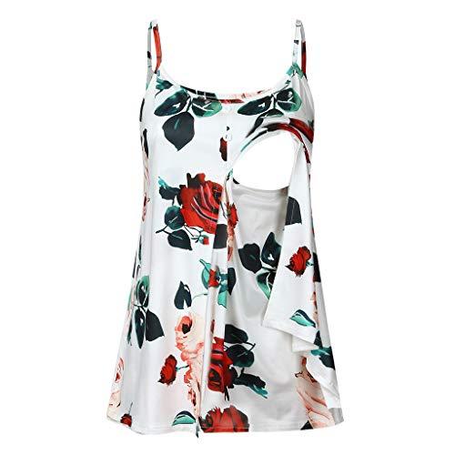 Junjie Damen Frauen schwanger Nusring Mutterschaft ärmellose Riemchen Blumen festlich Maxirock Bluse Rüschen Print Floral Tops schwarz, weiß, rot -
