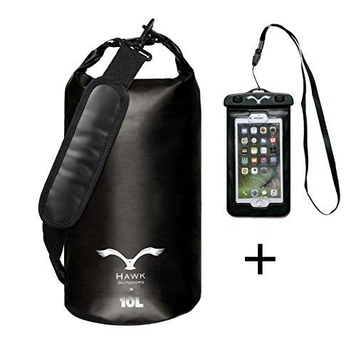 HAWK OUTDOORS Dry Bag - wasserdichter Packsack mit gepolsterten Schulter-Gurten inklusive wasserdichter Handy-Hülle - 30L/20L/10L - Stausack Seesack - Wasserfester Rucksack - Segeln (Schwarz, 10L)