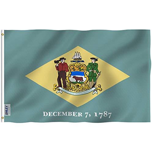 Anley? |Fly Breeze| 3x 5Fuß Delaware State Flagge-Vivid Color und UV farbbeständige-Leinwand Header und Doppelte Nähte-Delaware DE Flaggen Polyester mit Tüllen Messing 3x 5ft -