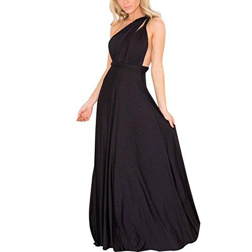 ESHOO Femmes Robe de demoiselle d'honneur Cabriolet Maxi robe de Soirée Noir