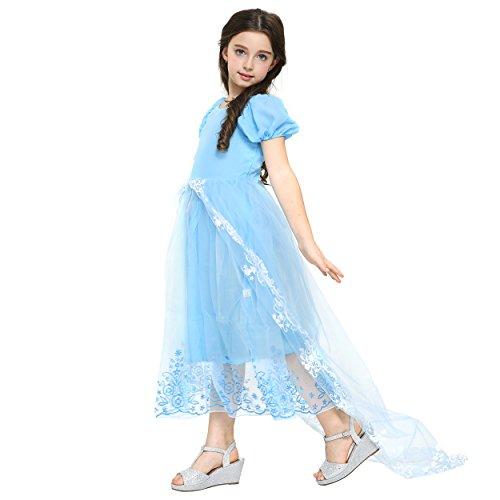 Katara 1713 - Blaues Cinderella / Aschenputtel Faschings-Kleid für Mädchen mit Tüll-Rock und Schleppe als Kinderkostüm für Karneval, Fasching, Halloween, Fastnacht, Geburtstags-Party (Halloween Cinderella)
