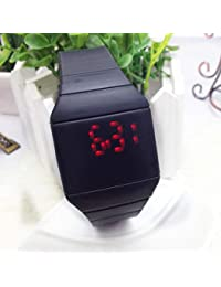 Man-hj Touch Digital LED Cuarzo Jelly Color Sport Wrist Relojes (Color : Negro