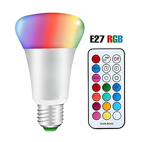 Minkle 10W Ampoules LED RGB Changement de Couleur Dimmable LED Bulbs E27 Lampes d'ambiance avec Télécommande Sans Fil, RGB+blanc