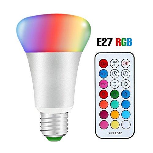 LED RGBW Bombillas, Minkle 10W E27 12 Colores que Cambian Bombillas con 21 Teclas de Control Remoto, Lámparas Regulables de Iluminación de Ambiente [Clase de Eficiencia Energética A ++]