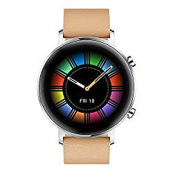 HUAWEI Watch GT2 42mm Classic Smartwatch, Silber, Armband: Gravel Beige, Leder