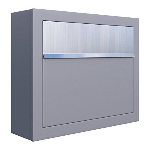 Briefkasten, Design Wandbriefkasten Elegance Grau/Edelstahl - Bravios