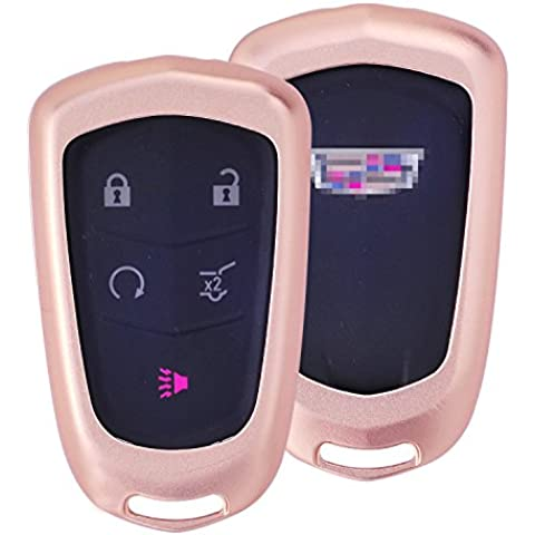 [M. JVisun] telecomando auto keyless entry chiave cover Fob Skin per Cadillac ats-l CT6XTS XT5cts SRX Escalade, Premium in alluminio Metallo Custodia Protettiva in vera pelle con portachiavi, Rose Gold - 1 De Icer