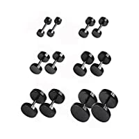 6 Pairs Black Earrings Studs Stainless Steel Ears Plugs Screw Studs Earrings Set for Men and Women Accessories, 18 Gauge