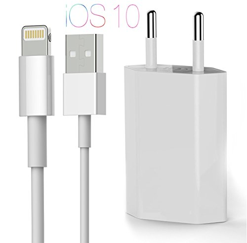 Preisvergleich Produktbild OKCS - Schnell und Sicher 1 A Netzteil + 2 M Ladekabel für Apple iPhone 8, 8 Plus, X, 7, 7 Plus, 6s, 6s Plus, 5, 5S, 5C, iPod Touch 5 Generation, iPod Nano 7 Generation in Weiß