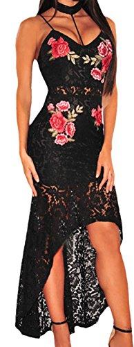 Confettery - Damen Kostüm Kleid mit Schleppe aus Netz Spitze Blumen Rosen, L, Schwarz
