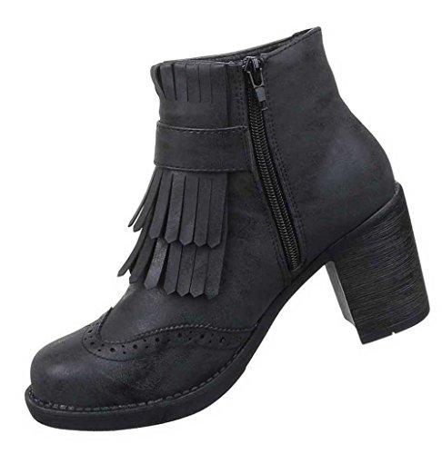 Damen Stiefeletten Schuhe Boots Designer Schlüpfstiefel Mit Fransen Schwarz Grau Schwarz