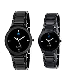 TESLO Analogue MEN AND WOMEN Black Dial GIRL AND Boys COUPLE WATCH (PACK OF 2)|3 MONTH WARRANTY|