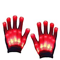 Aoweika Led Gloves,Halloween LED Flashing Gloves,Light Up Gloves for Adults or Kids(8-12+ Years old)