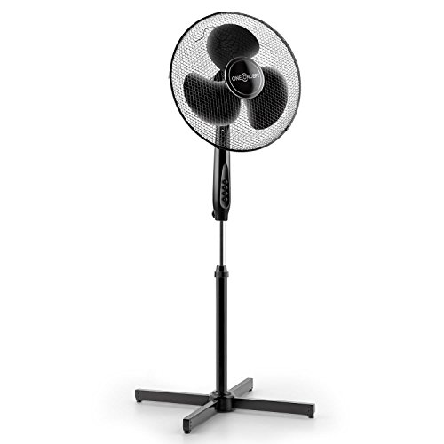 """oneConcept Black Blizzard - Ventilateur sur pied de 40,6cm 16"""" de diamètre de 50W de puissance (silencieux, fonction oscillation/ rotation, 3 vitesses) - noir"""