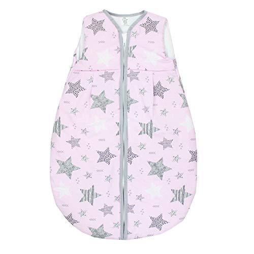 TupTam Baby Ganzjahres Schlafsack ohne Ärmel Wattiert, Farbe: Sterne Schwarz/Rosa, Größe: 104-110 -