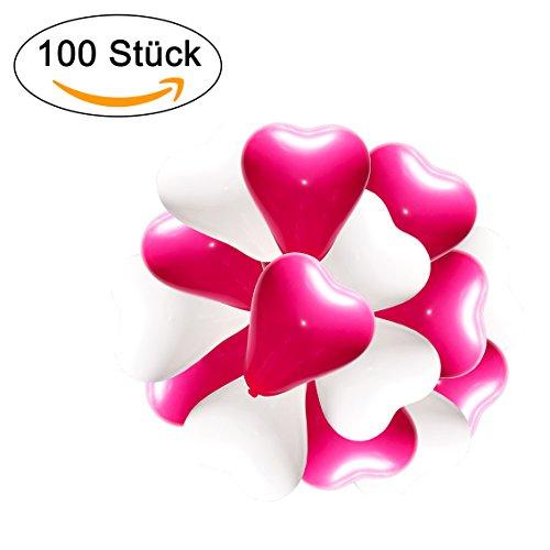 Herzluftballons - lieblingsmomente 100 palloncini a forma di cuore, rosso, bianco, rosa, elio, adatti per matrimoni, festivitÀ, san valentino, compleanno
