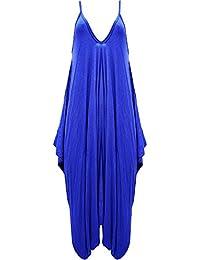 , Royal Blue 16-18 XL - MISS BOHO CHIC New Ladies Cami Lagenlook Romper Loose Harem Jumpsuit Playsuit Dress Plus Size