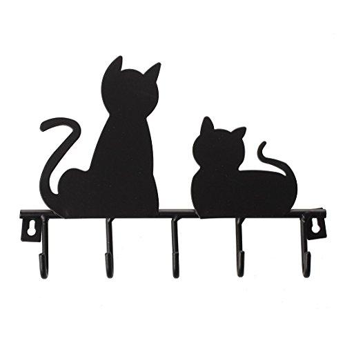 TOOGOO(R) Fashion Black cat design Metal Iron Wall Door Mounted Rustic Clothes Coat hat key hanging Decorative Wall Hooks Robe Hanger
