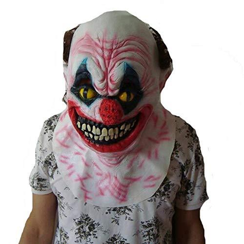 Lustig Unheimlich Kostüm - WEYQ Latex Halloween Party Cosplay Gesichtsmaske Verrückte Clown Kostüme Gruselig Lustig für Erwachsene Unheimlich Schrecklich Dämon Kostüm Requisiten Kopf (Verrückt)