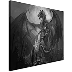 50x 70cm Cuadro Foto lienzo en negro blanco Lucha con dragón Candado