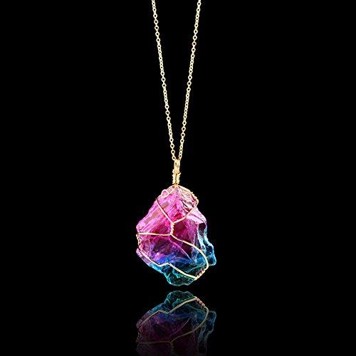 ZHUOTOP Damen Regenbogen Naturstein mit natürlicher Kristallfelsen Anhänger Halskette Gold überzogener Quarz Anhänger