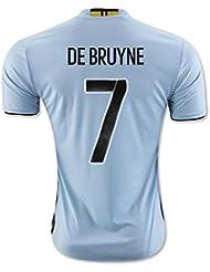 20162017UEFA Euro Tasse Belgique 7Kevin de bruyne Away National Football Soccer Jersey en blanc moyen Blanc - blanc