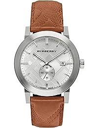 Burberry Hombre bu9904 redonda clásica plata Piel Reloj de cuarzo suizo