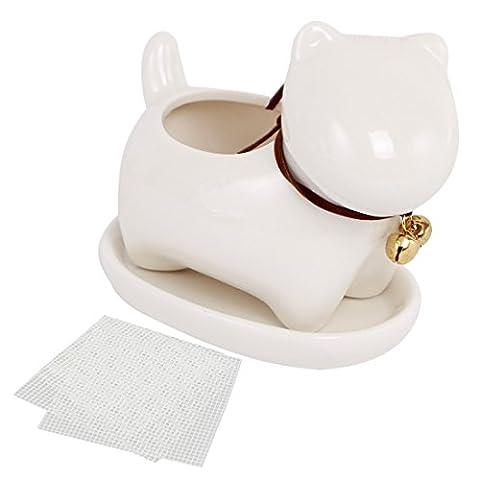 Happy Bonsai Petit pot en céramique pour chien, Pot de fleurs artificielles, Soucoupe + 2Maille écrans