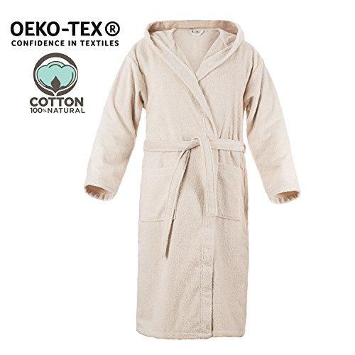Herren Bademantel (XL, Hellbeige/Taupe) - 100% Baumwolle, OEKO TEX Zertifiziert - Bademantel aus Baumwollfrottee mit Kapuze, 2 Taschen, Gürtel - Saunamantel, Weich, Saugfähig und Bequem