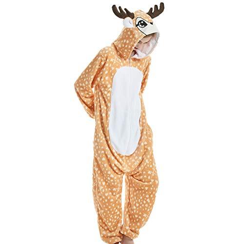 YFCH Pigiama Unicorno Kigurumi Animali Cosplay Uomo Donna Adulti Costume Tuta, Renna, S/150cm-158cm