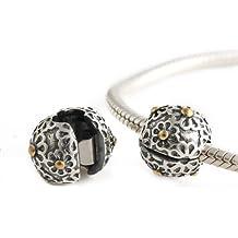 Andante-Stones - original, plata de ley 925 sólida, cuenta de oro, cierre a presión, elemento separador, adornado con flores, elemento bola para pulseras modulares European Beads + saco de organza