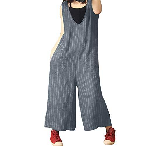 XZDCDJ Jumpsuit Damen Sommer Mode Frau Sommer gestreiften Print lässig Baumwolle und Langen Overall Grau,XXXXL