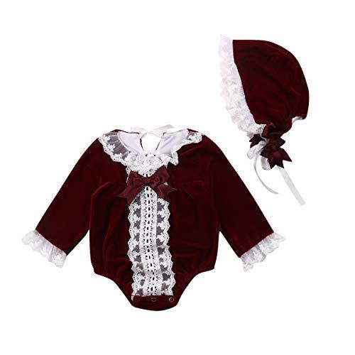 Frecoccialo Neugeborenes Baby Mädchen Strampler Langarm Mittelalter Palaststil Bodys + Kleine Mütze Overalls Taufe Outfit Set 0-2 Jahre