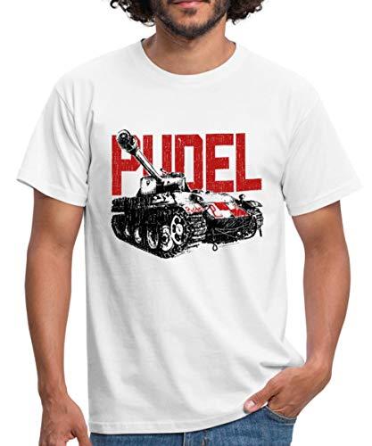 Spreadshirt World of Tanks Pudel Panzer Männer T-Shirt, M, Weiß -