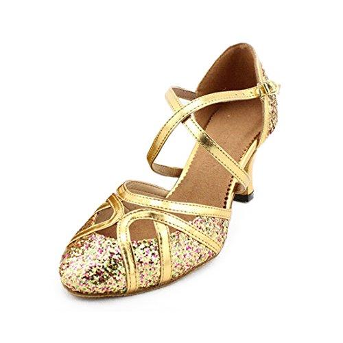 SUKUTU Frauen Latein Ballroom Tanz Geschlossene Zeh Glitzer Tanzschuhe SU023 (24.5cm/39EUR, Gold 2.36 inches Heel)