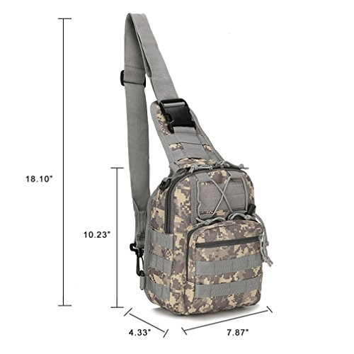 Tactical Sling Bag Cross-Body-Brust Rucksack Militär Schulter Pack EDC MOLLE-Fliegen Fischen Packungen für iPad Nylon Outdoor Camping Wandern Trekking Reise Daypack ACU