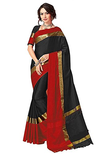 Birami Ethnics Women's Cotton Silk Saree With Blouse Piece (180Blackaa,Black,Free Size)