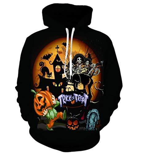 QIONGQIONG Halloween Kostüm Skelett Kürbis Kappe Elastische Sweater Festival Event Party Rolle Spielen 3D Schwarz-Gelbe Realität,XXL