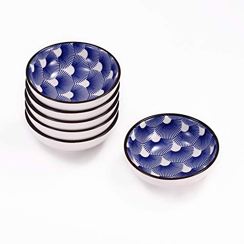 Urban Lifestyle 6 x Runde Dipschale/Saucenschälchen aus Porzellan 8cm mit blau/weißem japanischen Uchiwa Fächer-Muster - Japan-muster