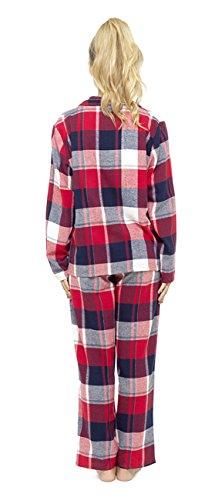 Damen Garn färbte traditionell kariert langer Schlafanzug Nachtwäsche Satz Rot