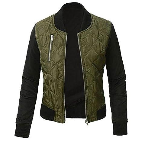 Minetom Femme Mode Coutures Chaud Blouson Cool Bomber Veste Aviateur Classique Matelassé Vintage Manteaux Jacket Coat Biker Moto Zipper Courtes Vert FR 48