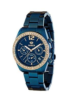 Reloj Marea Unisex, Caja y brazalete Acero IP Azul, multifunción sumergible 50 metros